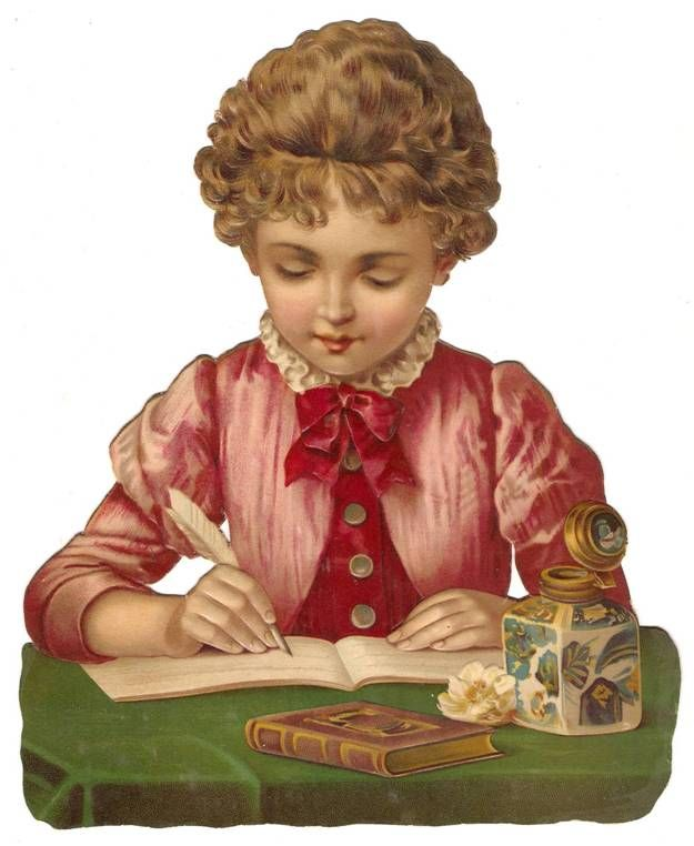 Victorian Girl Ink Pen Writing Letter Book Dress Die Cut