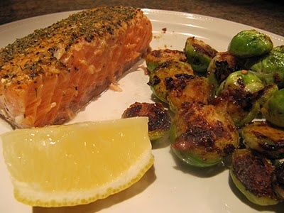 Oven-Baked Salmon and Brussel Sprouts with Black Bean Garlic Sauce