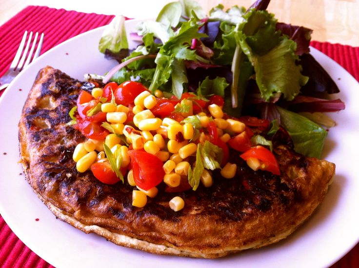 Black Bean Omelette and Spicy Corn Salsa | Eggstacy | Pinterest
