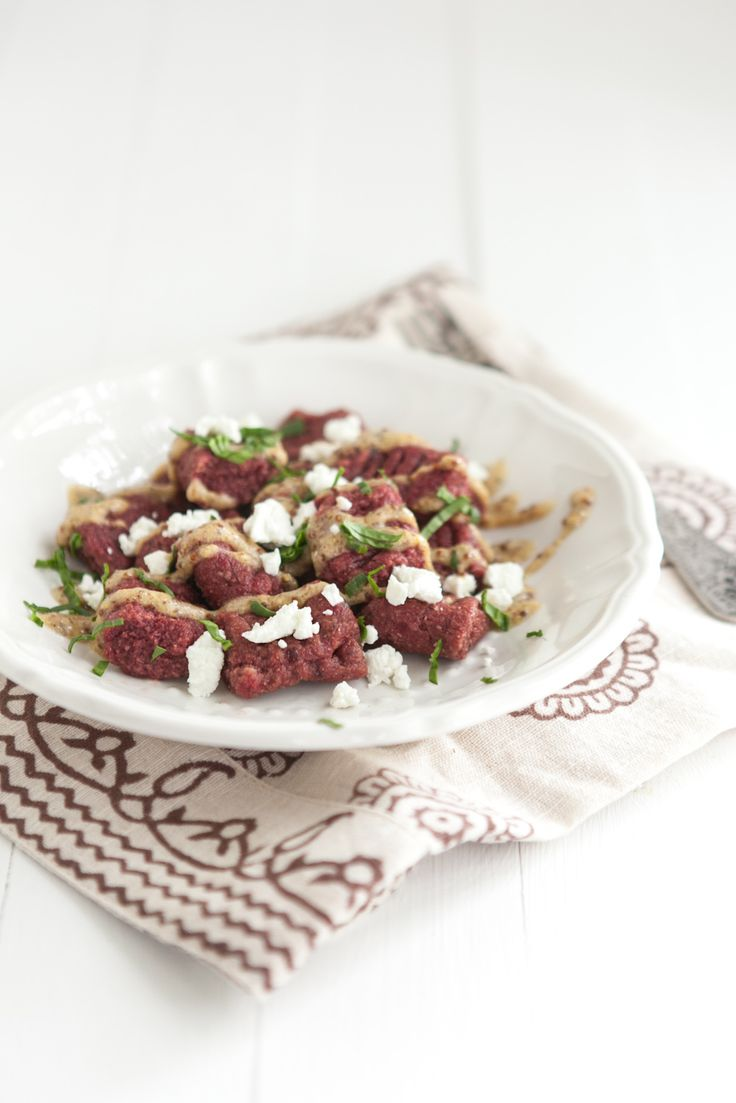 Naturally Ella | Beet Gnocchi with Mustard Sauce and Goat Cheese ...