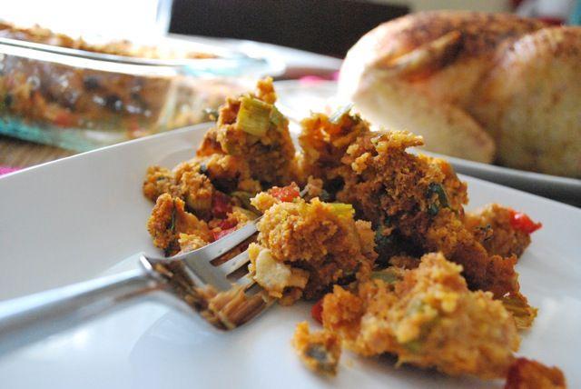 Stuffing Trials: Corn Bread, Chorizo, and Jalapeno Stuffing