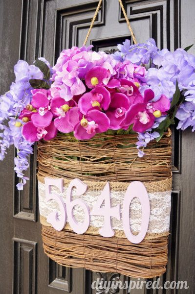 Radiant Orchid DIY Spring Door Decoration - http://www.diyinspired.com/radiant-orchid-diy-spring-door-decoration/ #craftmonthlove #radiantorchid #springtrends