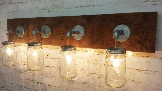 Mason jar 4 light fixture rustic reclaimed barn wood mason jar hangin - Primitive bathroom vanity lights ...