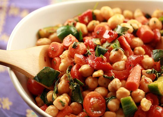 chickpea salad with roasted red pepper and harissa - swiss chard ...