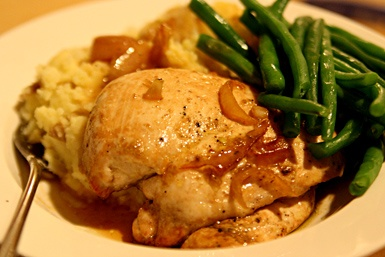 Roast Chicken with Caramelized Shallots. Serves 4