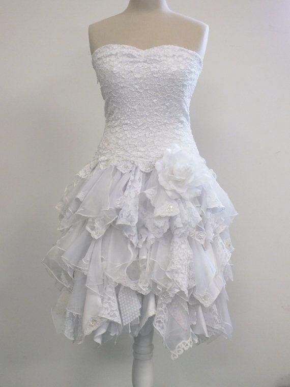 Hem A Lace Wedding Dress : Short strapless wedding dress handkerchief hem stretch lace drop waist