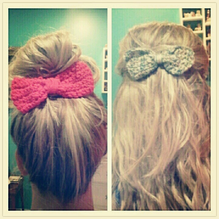 Crochet Hair Ribbons : Hair bows I crocheted today :) Crochet - Hats, Headbands and Hair A ...