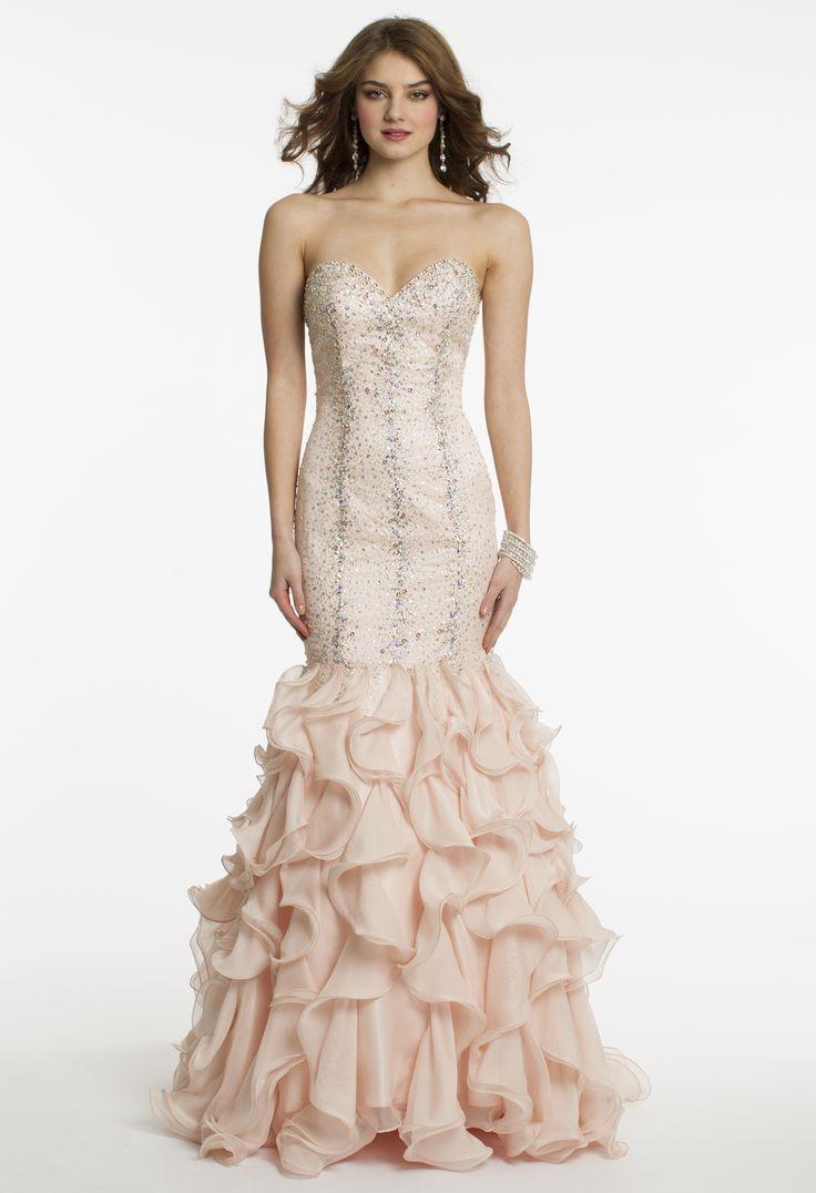 Chiffon and Satin Beaded Drop Waist Prom Dress by Camille La Vie