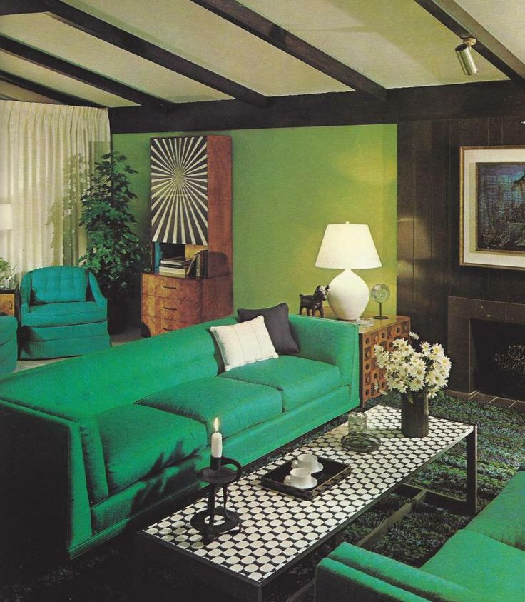 Vintage Home Decorating 1970s Rooms Green Rooms Pinterest
