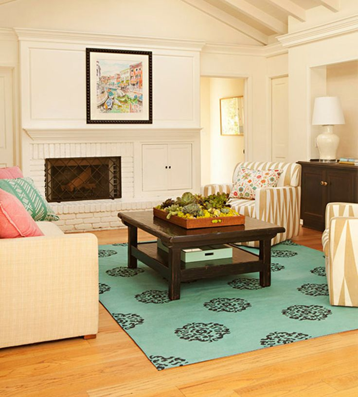Bright Blue Area Rug In The Living Room Area Rugs Pinterest