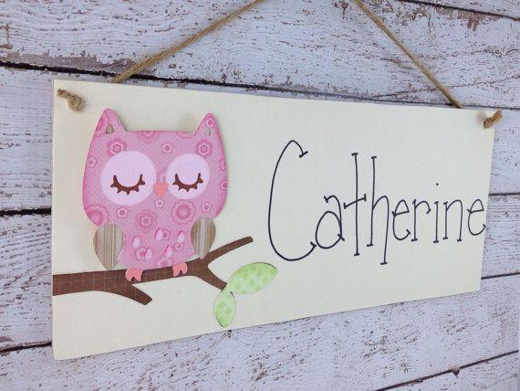 Personalized Pink Owl Children 39 S Bedroom Door Sign Or Wall Decor