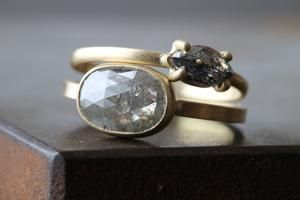 Natural Silver-Grey Rose Cut Diamond Ring / Alexis Russell