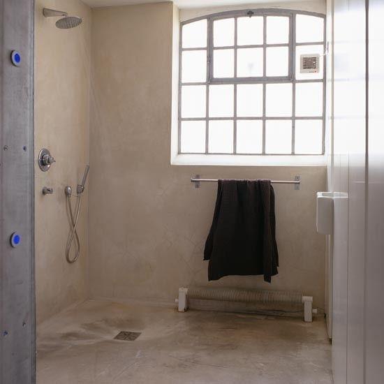 Cement Bathroom Floor Ideas : Poured concrete bathroom floor coastal