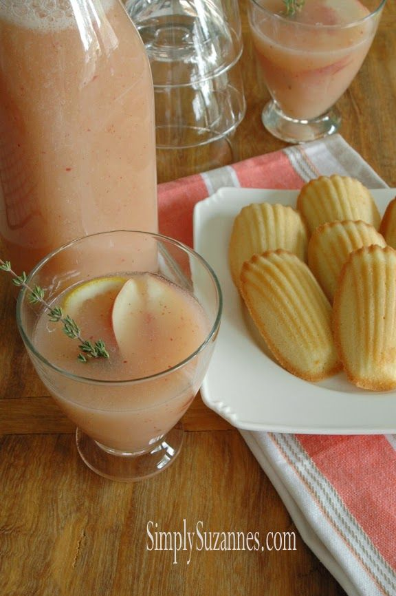 ... Suzanne's AT HOME: peaches & thyme lemonade with maple agave syrup