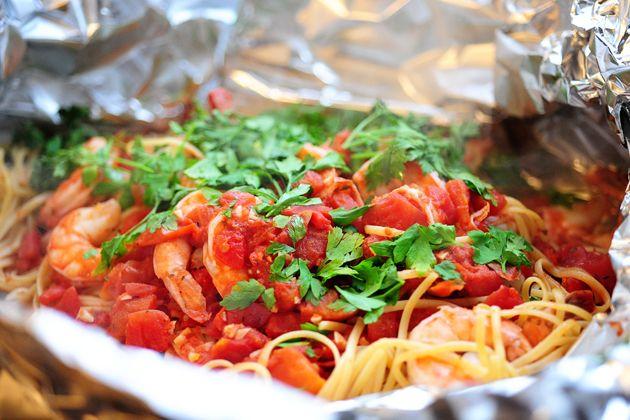 Shrimp Pasta in a Foil Package   Recipe