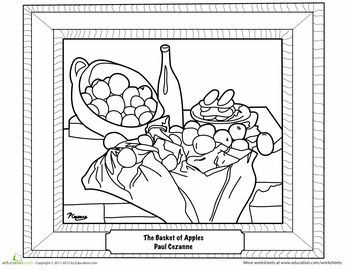 Basket Of Apples Coloring Page