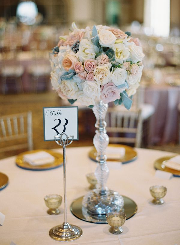 Rose topiary centerpiece in crystal candlestick