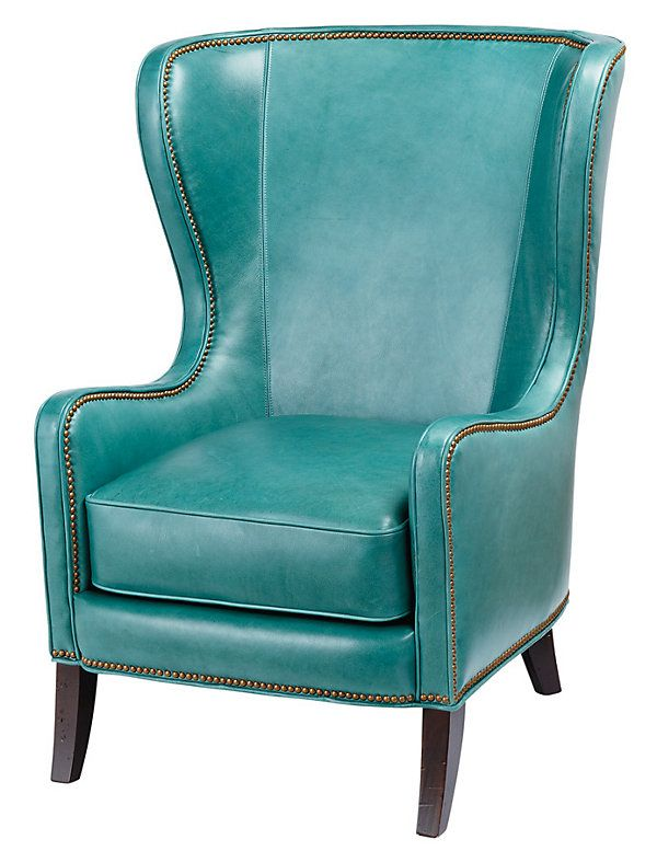 Dempsey Leather Wing Chair Turquoise