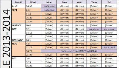 carpool calendar template
