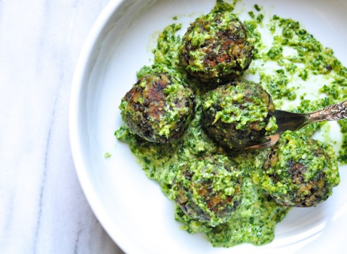 Lentil Meatballs with Lemon Pesto | Recipes: savory | Pinterest