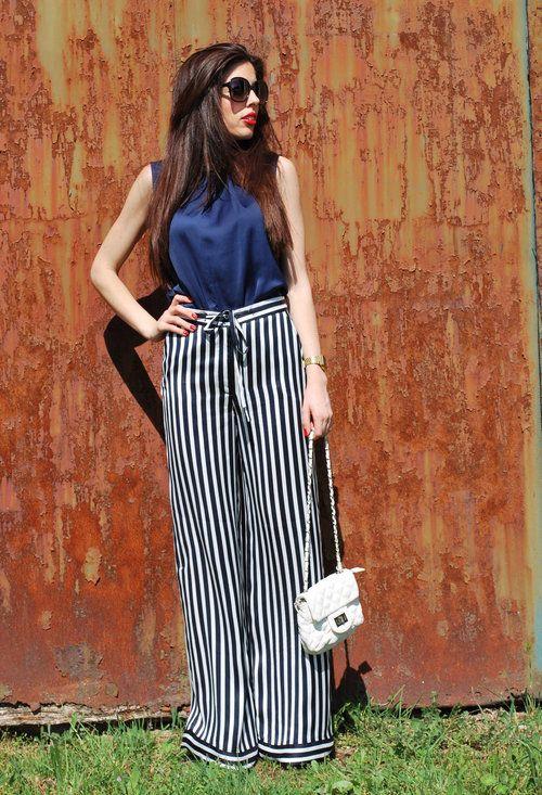 PANTALÓN RAYAS MARINERAS / SAILOR PANTS  , Zara en Camisas / Blusas, Blanco en Pantalones, tienda local en Bolsos