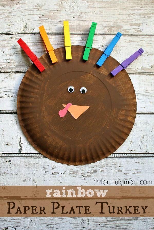 Rainbow Paper Plate Turkey Craft #thanksgiving