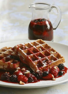 HAZELNUT WAFFLES WITH BERRY COULIS | Breakfast Food | Pinterest