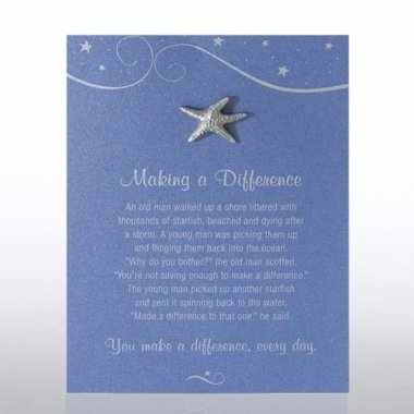 Starfish making a difference character pin on blue card