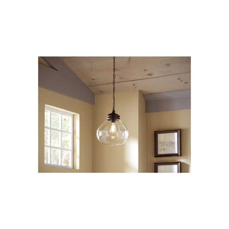 shop allen roth 12 in w edison style bronze pendant light with clear. Black Bedroom Furniture Sets. Home Design Ideas
