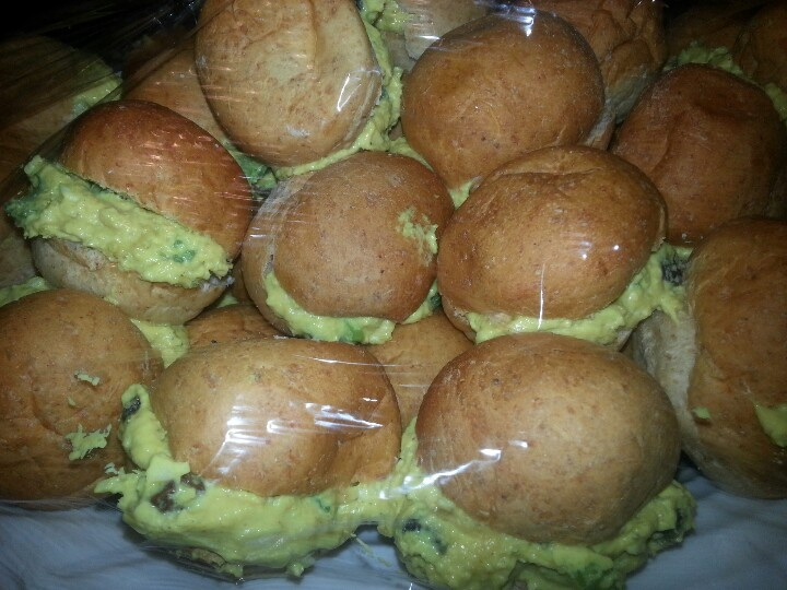 Homemade curry chicken salad on mini bite sized buns from Cosentinos ...