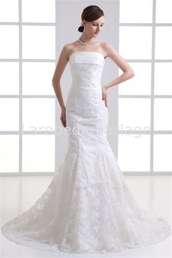 Robe de mariée sirène en satin/dentelle ornée de nœud papillon ...