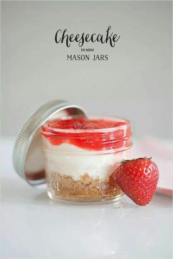 Cheesecake in Mini Mason jars! | Wedding Lace | Pinterest