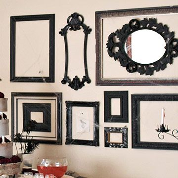 Framed Up:   Hunt down a few cheap picture frames for easy party wall decor. Collect a mix of simple frames and gothic-inspired ornate frames. Spray-paint your finds black and hang on the walls. Leary of leaving nail holes behind? Use lightweight adhesive strips instead. Would be fun with mirrors too