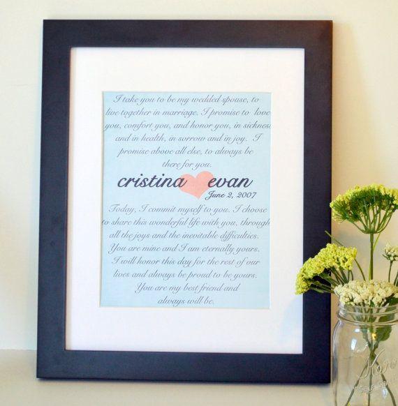 Wedding vow 11x14 print- first anniversary gift- Wedding keepsake gift ...