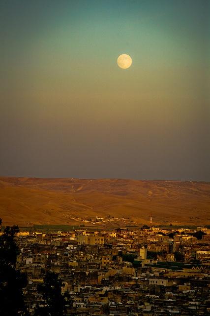 moon rising over Fez, Morocco via Eyebeam Photography