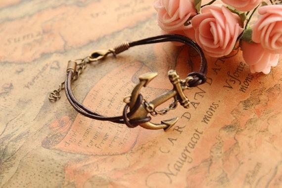 anchor braceletretro anchor pendant braceletbrown by fabuloustime, $2.99