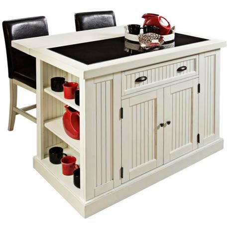 Nantucket distressed white kitchen island with 2 bar stools for The best portable kitchen island with seating