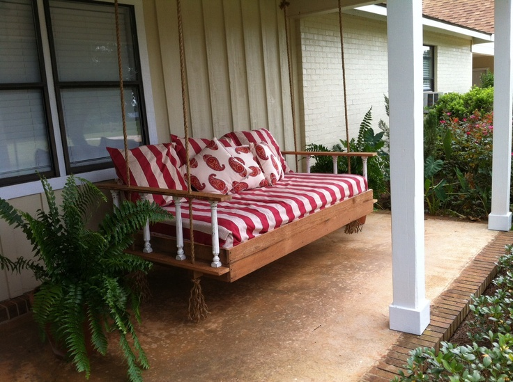 Antebellum style SwingBed. 100 year old wood, old porch banisters, manila rope and hooks included. $745.00, via Etsy.