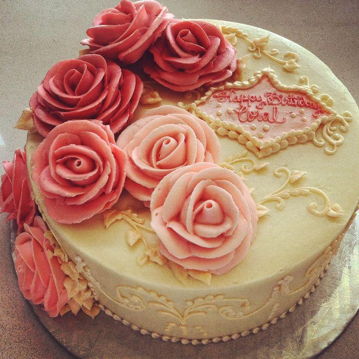 Cake With Roses Buttercream : Rose buttercream birthday cake CAKES - Icing Pinterest