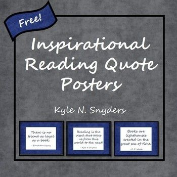 set of inspirational reading quote posters! Great for upper elementary ...