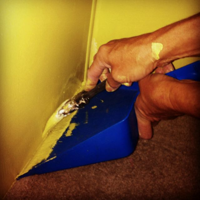 Trim painting made easy. I need to remember this when it's time to paint!