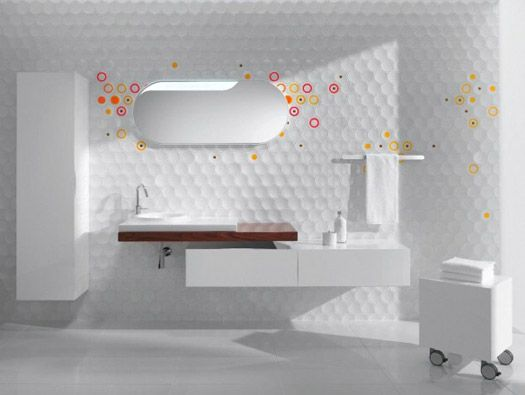round and square ceramic tile inspired by the digital age and customizable with decals