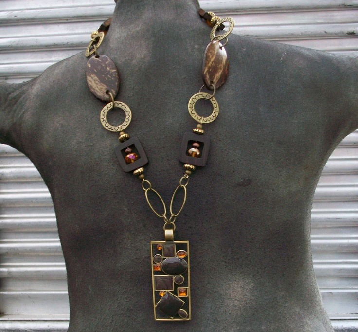 Unique Statement Piece, necklace with pendant, jewelry, gold chain necklace with rectangle pendant, wood beads and free matching earrings. $25.00, via Etsy.