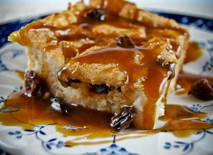 Cinnamon Raisin Bread Pudding with Brown Sugar Whiskey Sauce