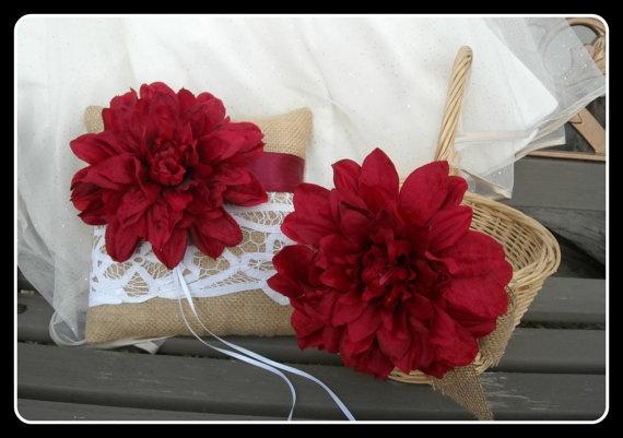 Wedding Flower Girl Basket And Ring Bearer Pillow Wedding Set Burlap