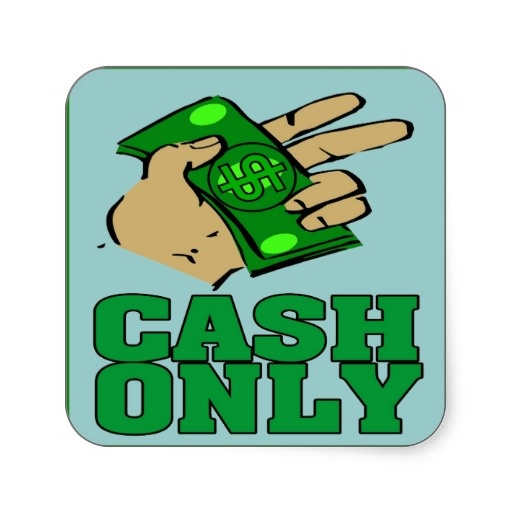 Cash only sign square sticker