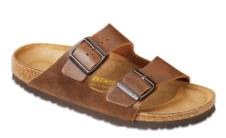 Birkenstock Arizona Antique Coconut:Classic two-strap style sandals in