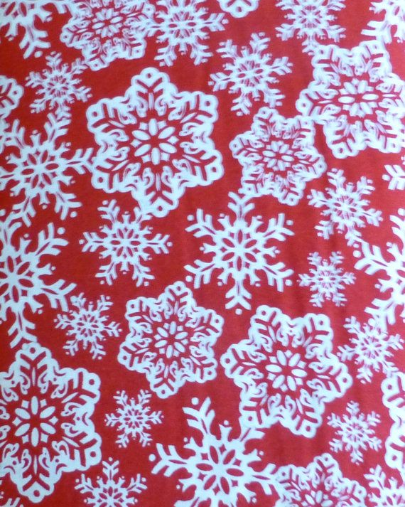 Cotton Fabric, Quilt, Home Decor Fabric, Christmas, Snowflakes on Red ...
