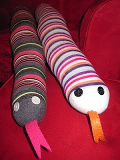 Bean-snakes. These are easy to make and are used to provide sensory input. I usually buy a size XL men's soccer sock and stuff it with beans or rice (left in the package to avoid attracting pests). Use bright yarn to sew eyes and a felt mouth.One time I sewed on a keychain ring and attached fidget toys.