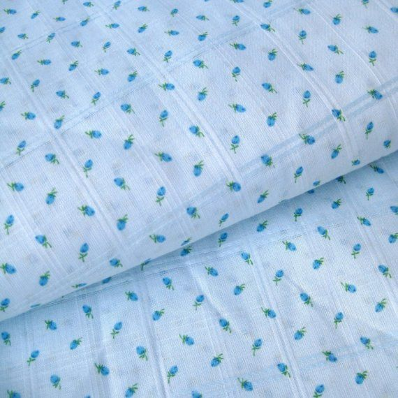Vintage baby blue rosebud fabric small print floral cotton for Retro baby fabric